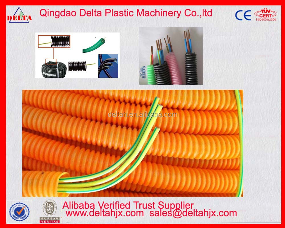 Corrugated cable wire through pipe extrusion machine