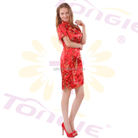 Made in china Sexy women classical cheongsam costume fashion party short dress in phenix design