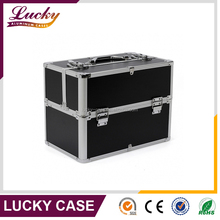 Professional Aluminium Hairdressing Makeup Black Nail Art Box Case