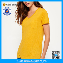 Sex Ladies Deep V-Neck Cotton Tshirt With Same Color Pocket Printed Logo Classical Dress Tee