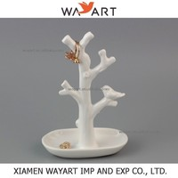 Ceramic White Bird Branch Tree Jewelry Holder With Ring Dish