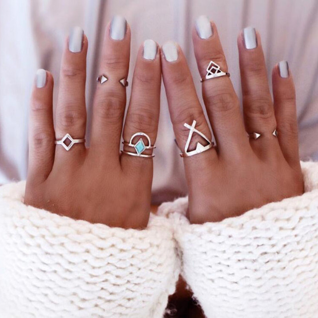 6PCS Vintage Turkish Beach Punk Geometry Ring Set Ethnic Carved Silver Plated Boho Midi Finger Ring Knuckle Charm anelli R961