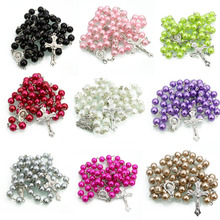 cheap Jesus catholic rose petal 6 mm rosary bracelet in mixed color