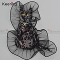 Organza Black Cat Sequin Patches Embroidery Designs