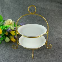 Hot sale Beaty Porcelain Round Wedding Cake Stand Plate with Castle Shape