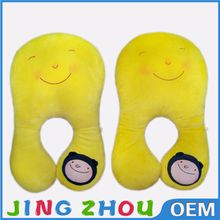 Comfortable plush animal shape neck pillow, custom smiling face stuffed neck pillow on sale