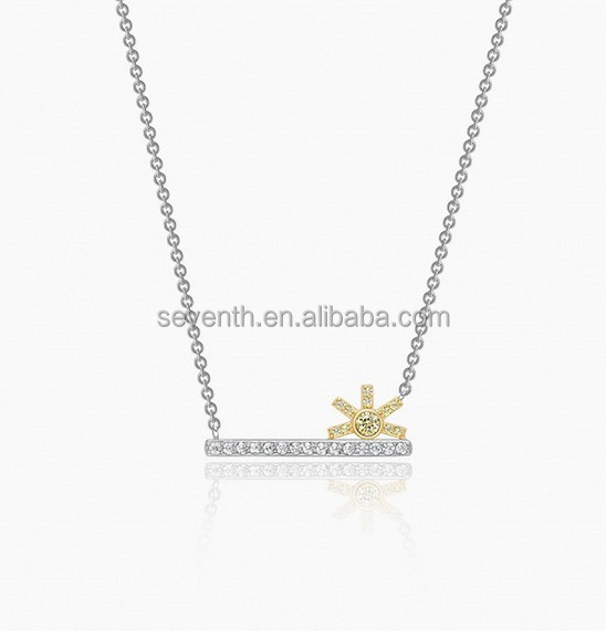 White gold plating clear cubric zircon brass sunrise pendent necklace