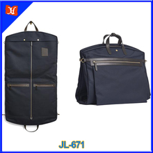 2017 Luxury water-repellent canvas leather Suit Cover Garment Bag travel suit carrier hand carry or shoulder straps