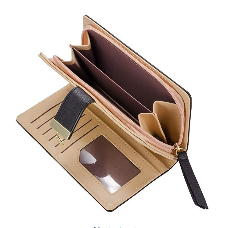 Custom Good Quality Women's Long Leaf Bifold Wallet PU Leather Card Holder Purse Zip Buckle Elegant Clutch Wallet Handbag
