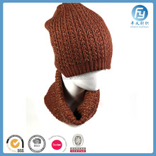 custom design wholesale knitting designer scarf and hat set
