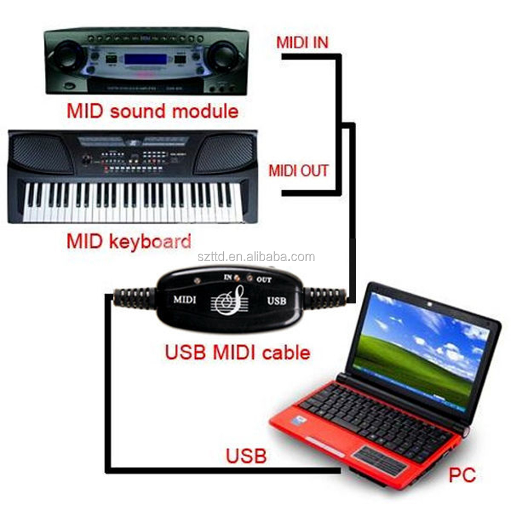 TTD Factory Price 2016 New USB IN-OUT MIDI Interface Cable Converter PC to Music Keyboard Cord