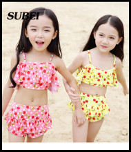 2016 new children's girls swimsuit split swimwear children cute cherry bikini