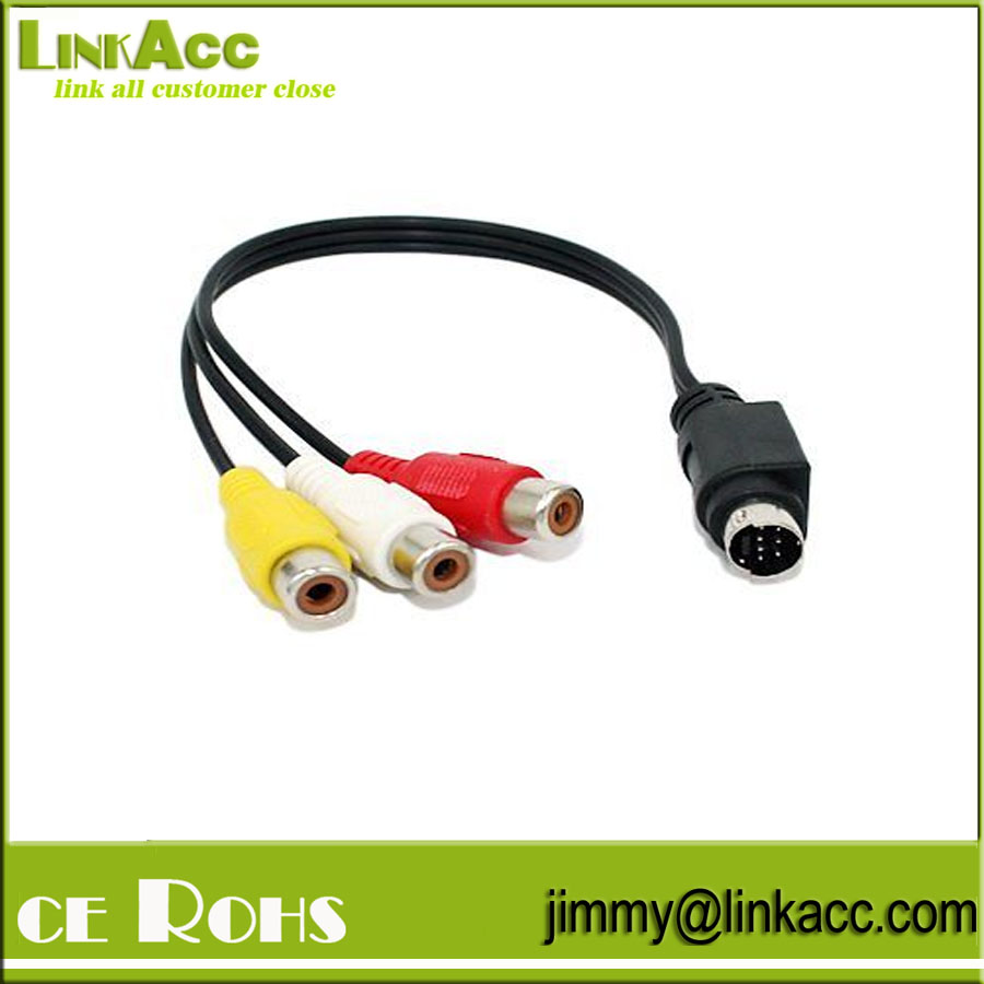 LinkYH-57-Pin Mini-DIN S-Video Male to 3 RCA Female Cable (6 inches)