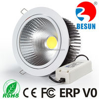 Quality driven CE ROHS ERP V0 approved Cutting size 165mm Dia180mm 40w round COB led downlight