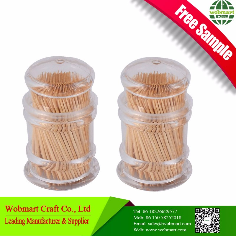 Food Grade Double Pointed Disposable Bamboo Toothpick Plastic Bottle