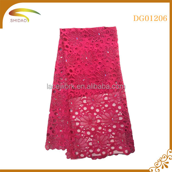 fushia Latest dress design materials french lace fabric/ laces nigerian african style
