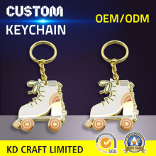 High quality custom metal brass hard enamel glitter powder epoxy roller skate keychains for sale