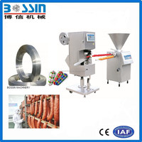 Pneumatic ham sausage filler and double clipping machine