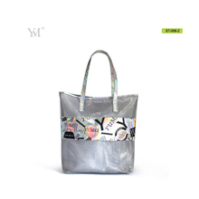customized fashion ladies 2017 women Mesh and PVC designer handbag beach tote bag