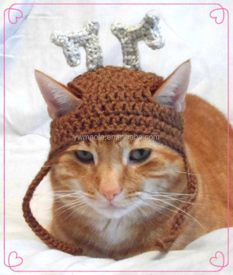 100% Acrylic Yarn Crochet Pet Cat Photo Prop Handmade Knit Pumpkin Hat for Cat or Kitten