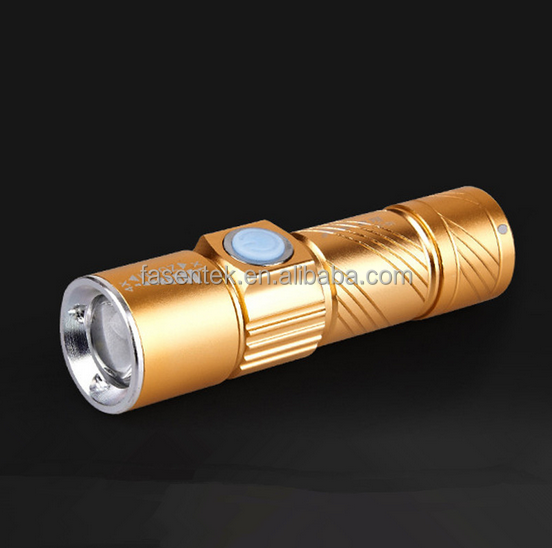 USB Zoomable 500LM Mini Rechargeable LED Flashlight Torch