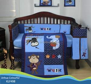 2015 Newest Design 100% cotton embroidery Baby Bedding Set 100% cotton KLF498