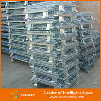 Folding and Stackable Steel Wire Mesh Storage Cages with Casters