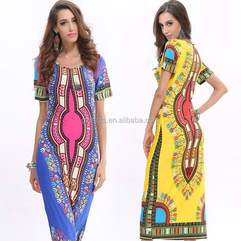 women enthic style digital printed dress shirt short sleeve round neck summer long for female