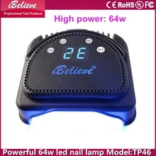 Professional high power 64w auoto sensor timing + induction nail lamp with portable handle