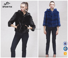 promotion new Real Genuine mink fur winter short blue jacket coat