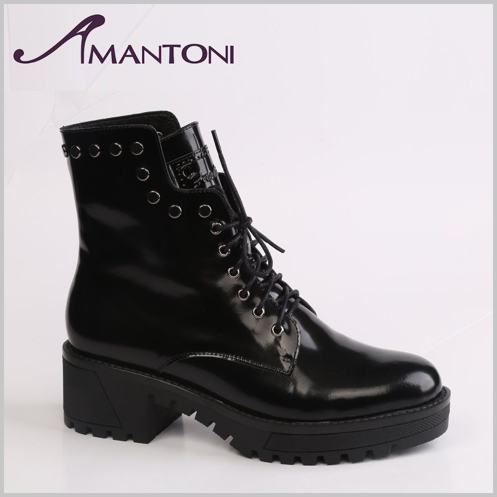 Classic women cool boots nail Rivet boots genuine leather lace-up shoes