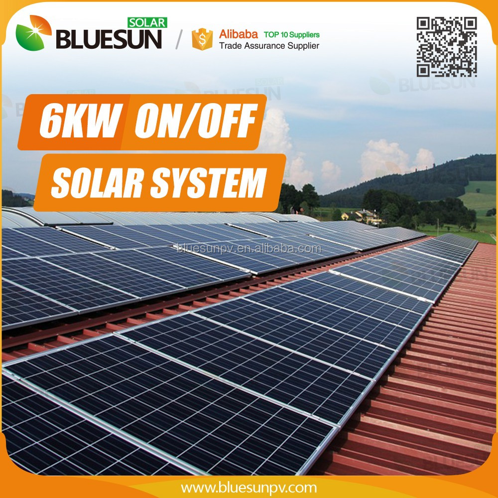 grid solar system 5kw -50kw on factory roof with mounting structure and inverter