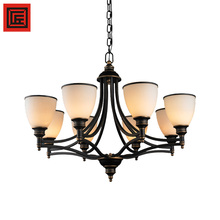 modern iron pipe glass shade E27 lamp bulb chandelier pendant light