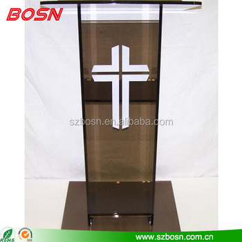 Customized smoke color acrylic lectern lucite plexiglass podium for church