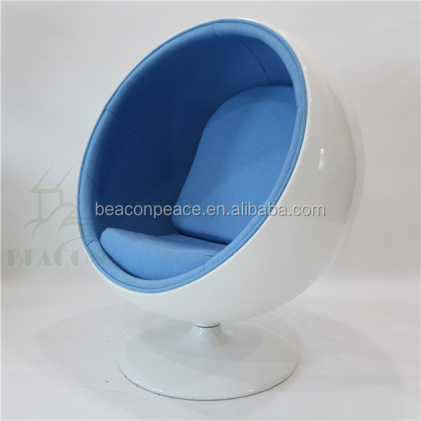 Wholesale fiberglass ball shaped chair blue