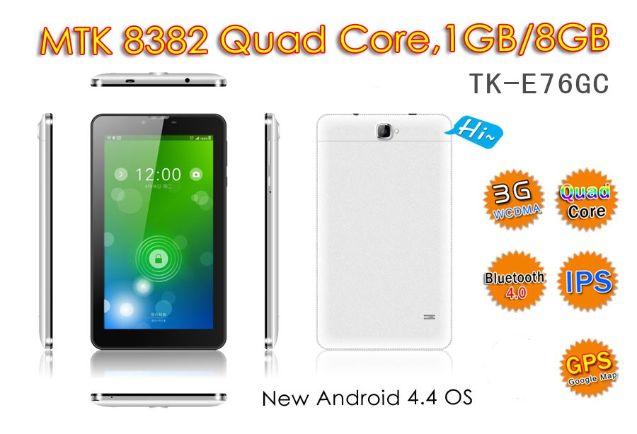 7 inch MTK 8382 Quad Core 3G Android 4.4.2 tablet pc with 3D games