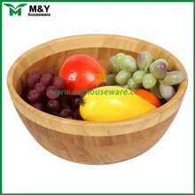 Big capacity bamboo wooden friut plate and salad bowl