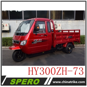 300CC closed cabin heavy loading adult triciclos cargo tricycle for sale