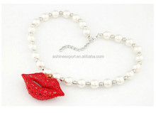European and American Fashion Lips Temperament Flash Pearl Necklace