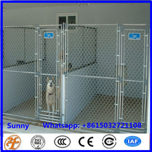 Large galvanized and welded dog kennel building with fight guard divider