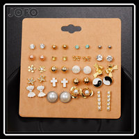 Punk 20 Pairs Pack Set Brincos Mixed Crystal Ear Fashion Cross Bowknot Star Simulated Pearl Stud Earrings Set