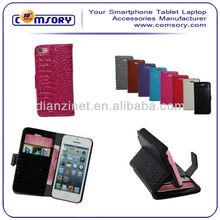 Luxury Alligator print wallet style Leather Case Cover with Stand function for iPhone 5 5C Paypal Acceptable