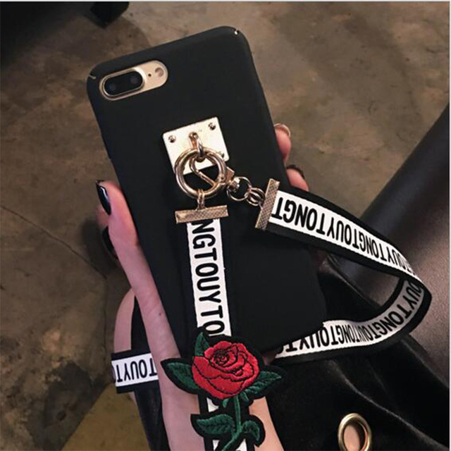 Hard PC Embroidered Roses Letters Neck Lanyard Strap Long Chain Back Cover phone case for iphone X 8 8 plus 7 7 plus 6 6S SE