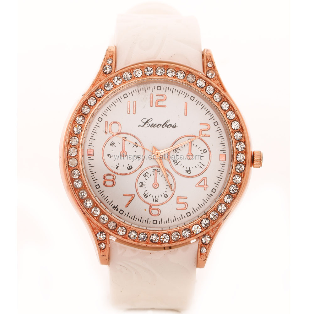 WJ-4531 luxury fashion big dial Stainless steel case back water resistant ladies fancy cheap silicon strap wrist watches
