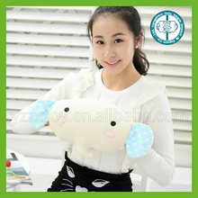Wholesale plush white elephant warm hand tube with big blue ear