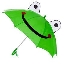 Girls and Boys Green Frog 3D Ears Eyes Kids Umbrella With Straight Handle with Whistle