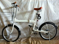 white color rear suspension 20 inch 7 speed folding bike for lady