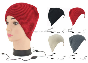 BHG-021top sale cap winter kitted beanie hats with built in headphones