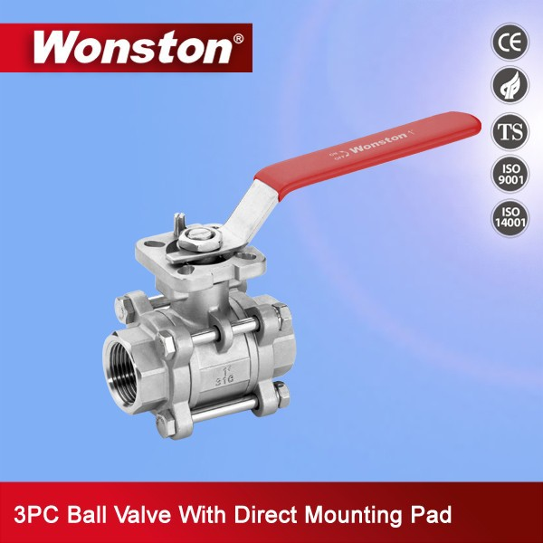3pc stainless steel ball valve with iso5211 direct mounting pad