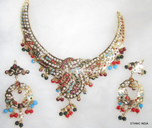 Gold plated Jadau multi stone NECKLACE earring set